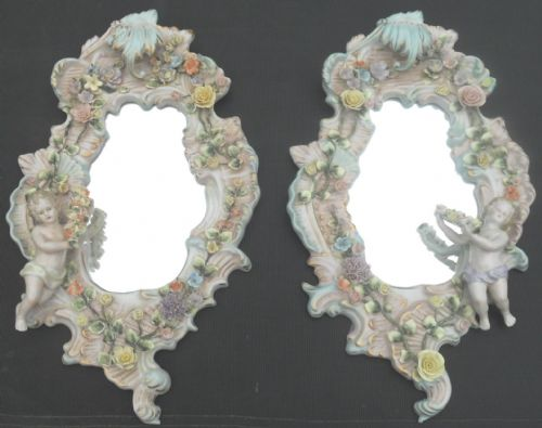 Pair Porcelain Framed Hanging Wall Mirrors